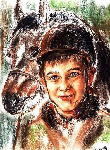 Skizze zu freunde mädchen mit pferd