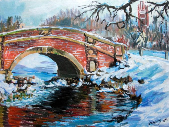 Winter-Brücke am See in Wörlitz